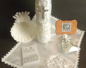 Baptism Candle Set- Juego de Vela de Bautismo