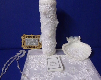 Baptism Candle Set - Juego de Vela de Bautizo - bautismo