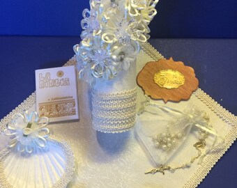 Baptism Candle Set- Christening candle set - Juego de Vela de Bautismo