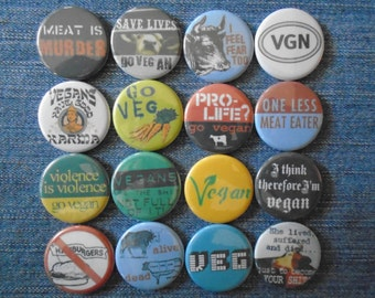 "Animal Liberation 1.25"" pin back buttons. Set of 16 different badges. Animal rights lot of pins. go veg, vegetarian, Gift Set, go vegan"