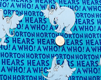 7f6ce5257b910 Horton Hears a Who words and Horton on blue. Horton Hears a Who by Robert  Kaufman 15378 - Fabric by the yard