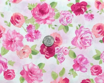 Pink watercolor roses all over pale pink.  Love Pink by Windham Fabrics 52026 1   - One yard of fabric.