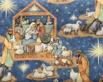 Christmas manger scene all over blue. Good Will to All.  Nativity Scene by Springs Creative 20226 - Fabric by the Yard.