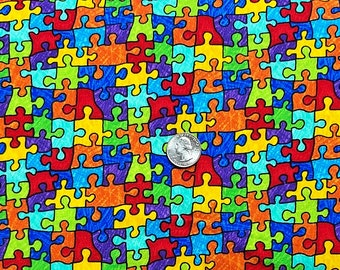 Puzzle piece fabric. Multicolored puzzle pieces. Autism Awareness. Gail Bright by Timelesss Treasures C6344 - Fabric by the yard