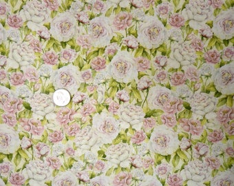 Springs Creative - Rose Divine Fragrant Roses - 16041 - Pale Pink Roses on Cream - One Yard of Fabric