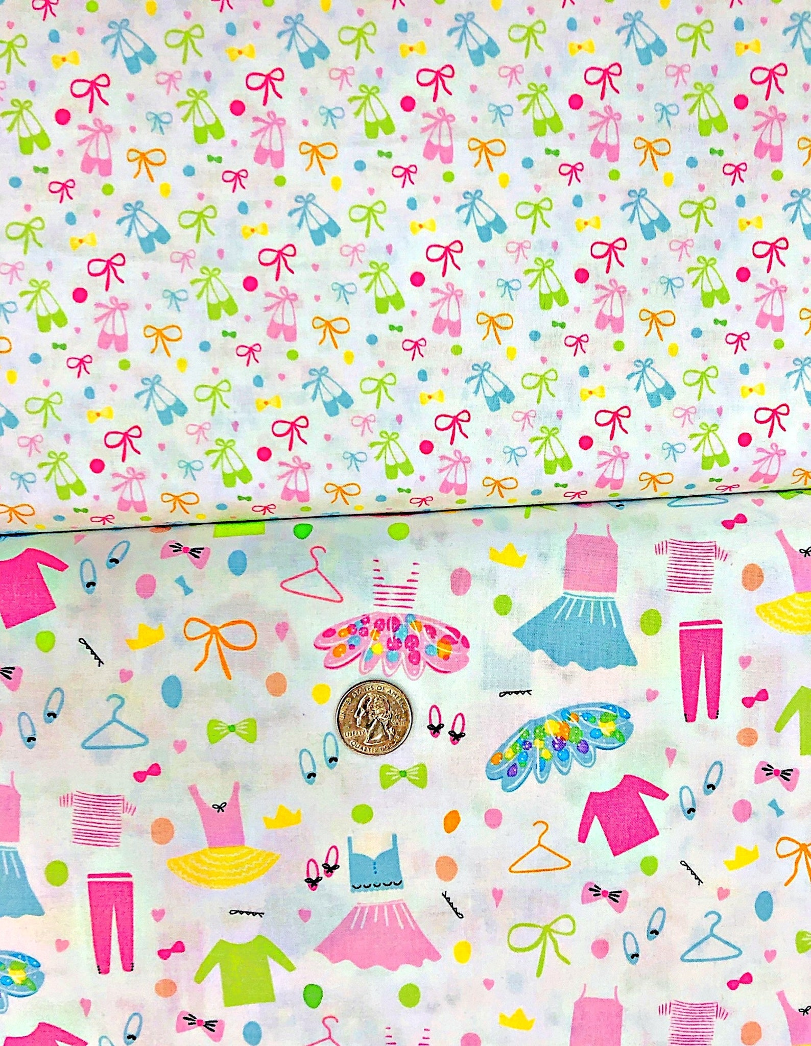 riley blake - c6953 - ballerina bows - ballet shoes and bows on white - one yard of fabric. by the yard