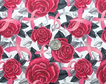Breast Cancer Awareness ribbons and roses all over white.  Ribbons on Ribbons by David Textiles. 3055 white -  Fabric by the yard.
