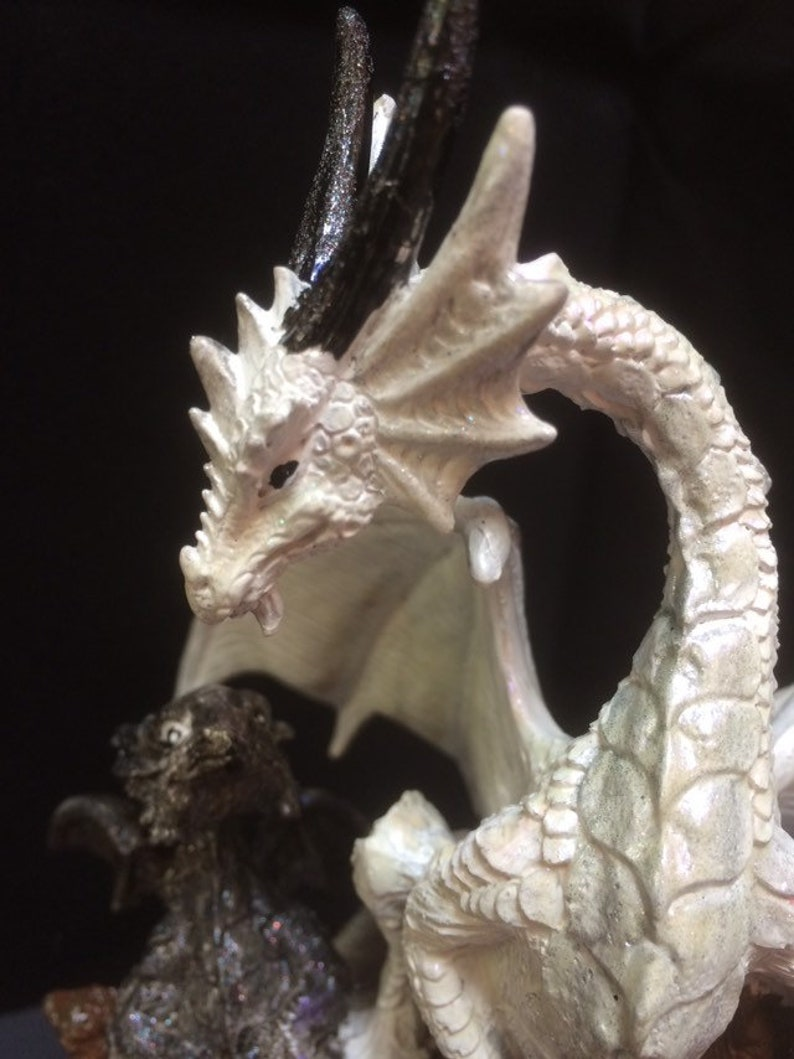 Big white dragon and her black baby