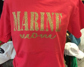 Custom Marine Wife, Girlfriend, Sister, Mom, or Daughter Comfort Colors Short Sleeve