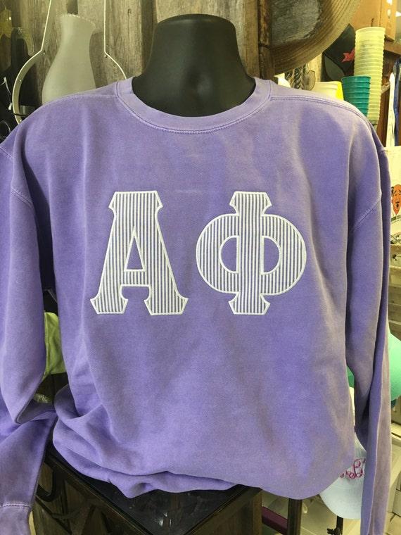 Custom Comfort Colors Raised Letters Alpha Phi Sweatshirt Appliqued with Seersucker DkCGh3p