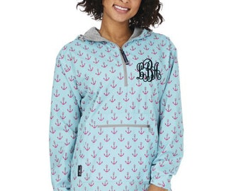 Monogrammed Embroidered Charles River Anchor Pullover Rainjackets