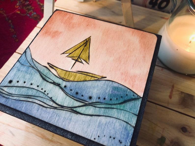 Handmade woodburned and watercolored box