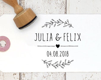 Stamp Wedding | with name, date and heart | Wedding Invitation | Stamp Wedding | Stamp Wedding Name | stamp thank you