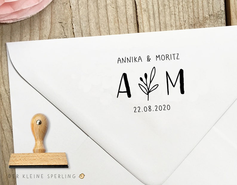 Stamp HIGH TIME Initials & Names Leaf Branch Wedding Stamp image 0