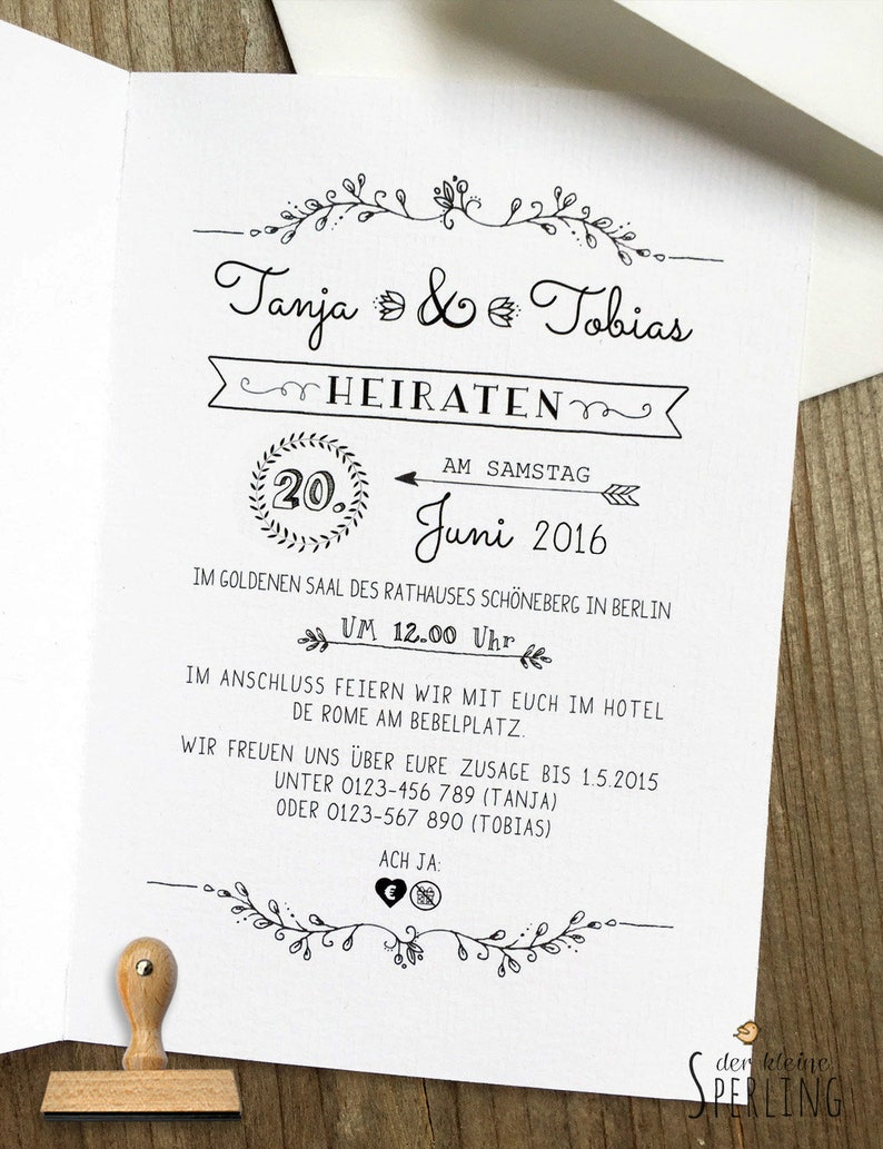 STEMPEL Wedding Personalized Stamp Wedding Invitation image 0