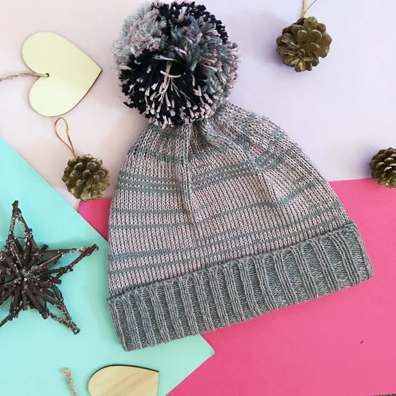 dd37cb94ca2 Grey Pink Beanie Pom Pom Hat Cable hat Bobble hat womens