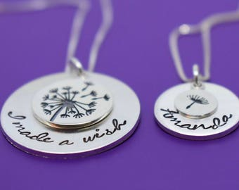 Mother Daughter Necklace Set - Dandelion Mother Daughter Jewelry - Silver Necklace Set - Mommy and Me necklace - Mother's day gift - Mom
