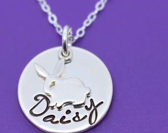 Pet Rabbit Memorial Necklace Gift - Pet loss Jewelry - Bunny Memorial - Bun Memorial Necklace- Pet Remembrance Jewelry- Pet Memorial