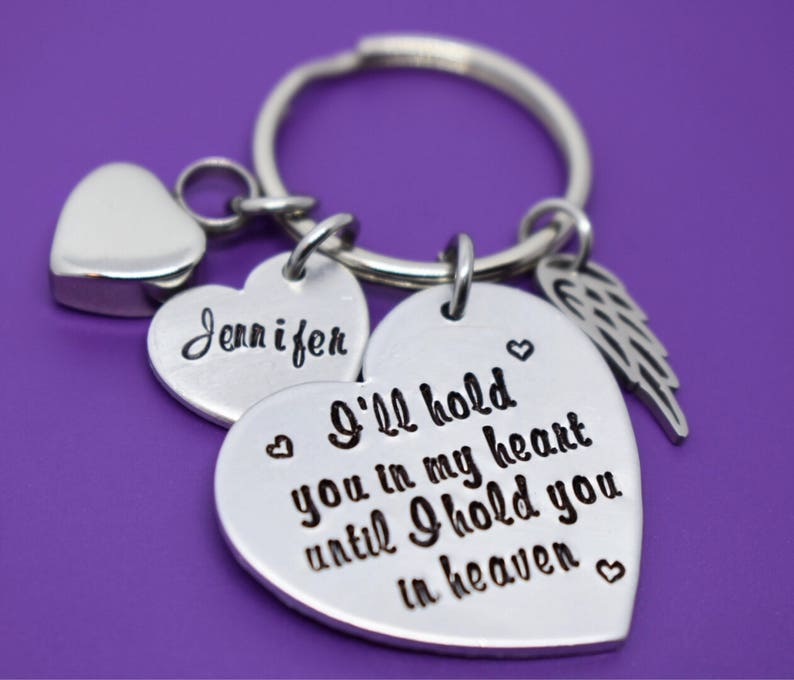 Memorial Jewelry Urn -I/'ll hold you in my heart until i hold you in heaven Cremation Memorial Jewelry Keychain Loss of Loved One Keeps
