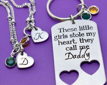 Daddy Daughter Gift Jewelry Set - Father's Day Gift - These girls stole my heart - Daddy Keychain - two daughters - Daughter Necklace