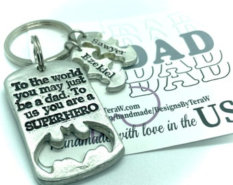 Personalized Fathers day gift, superhero dad keychain best dad ever superhero gift for dad, Kids names personalized bats pewter hand cast