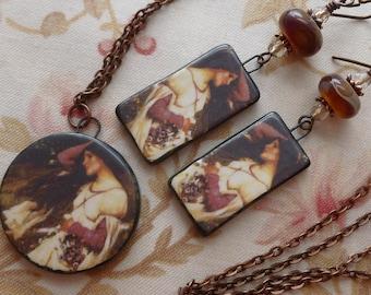 Pre-Raphaelite Necklace and Earring Set, Romantic Ceramic Earrings, Waterhouse Wearable Art, Northernblooms, 5FishDesigns, LindsayDrakeBeads