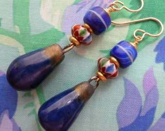 Blueberry Dangles, Blue Boho Ceramic Earrings, Navy Blue Earrings, Vintage African Trade Beads,  Artisan Made, Northernblooms