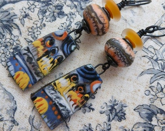 Around The Campfire, Funky Asymmetric Earrings, Boho Ceramic Earrings, Avant Garde Dangles, pebbledreams, JosephineBeads, Northernblooms