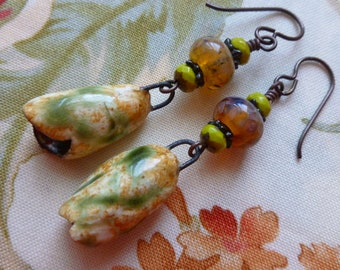 Unfurling Buds, Rustic Boho Ceramic Earrings, Ceramic Bell Charms, Artisan Made, Zolanna, silverfishdesigns, Northernblooms