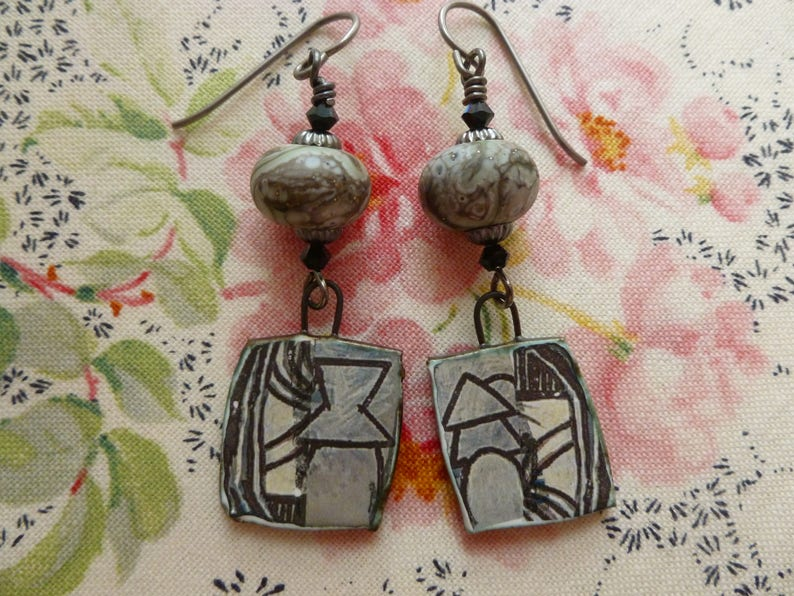 Neutral Colors SALE: Ladies/' Fancy Hats At Ascot JosephineBeads Northernblooms Abstract Contemporary Earrings Pebbledreams