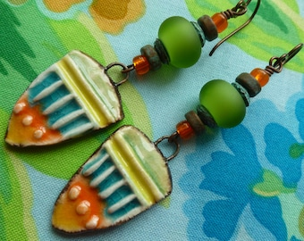 Temple to Athena, Boho Ceramic Earrings, Fun Colorful Jewelry, HappyFishThings, taneres, Northernblooms