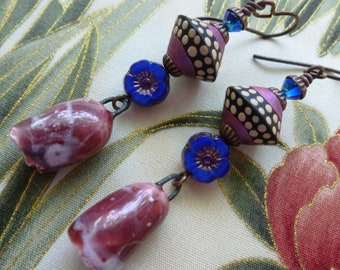 Bells And Blooms, Rustic Boho Organic Ceramic Earrings, One Of A Kind Artisan Made, Zolanna, gracefulwillowbeads, Northernblooms