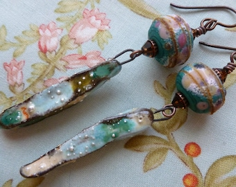Waterfall Dangles, Organic Rustic Boho Ceramic Earrings, One Of A Kind Artisan Made, JosephineBeads, outwest. Northernblooms