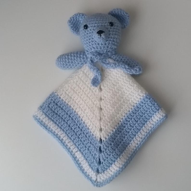 Ready to Ship! Amigurumi Handmade Crochet Teddy Lovey  Comforter  Security Blanket  Photo Prop
