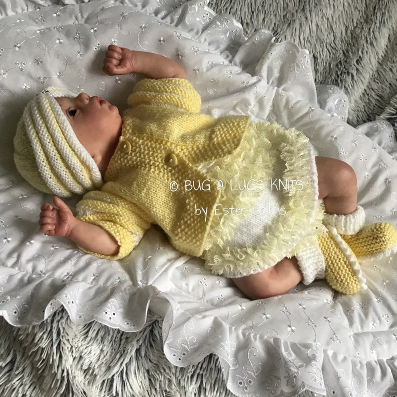 Hand Knitted Baby Girl Outfit Ready to Ship Turban Set Reborn Doll