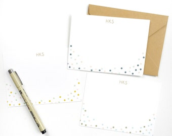Personalized Flat Notecard | Polka Dots - Set of 24