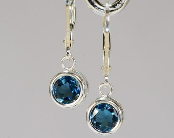 1793ab112 London Blue Topaz Dangle Earrings~.925 Sterling Silver Lever-back  Setting~6mm Round Cut~Genuine Natural Mined