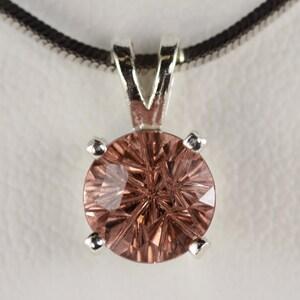 Brilliant 4 Clip Bucket Setting 4 MM Round CZ Gemstone Silver Pendant Fine Jewelry