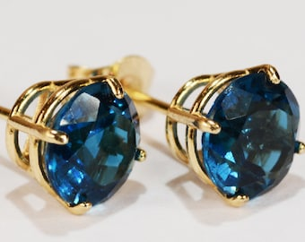 5c900030c London Blue Topaz Earrings~14KT Yellow Gold Premium Setting~6mm Round~Genuine  Natural