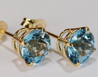 Swiss Blue Topaz Earrings~14KT Yellow Gold Premium Setting~6mm Round~Genuine Natural
