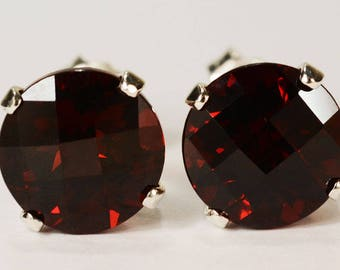 Red Garnet Earrings~.925 Sterling Silver Setting~8mm Round Cut~Genuine Natural Mined
