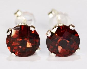 7704921a6 Red Garnet Earrings~.925 Sterling Silver Setting~7mm Round Cut~Genuine  Natural Mined