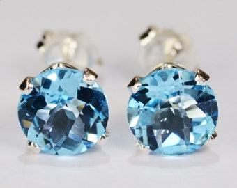 8ec5d8134 Swiss Blue Topaz Earrings~.925 Sterling Silver Setting~7mm Round  Cut~Genuine Natural Mined