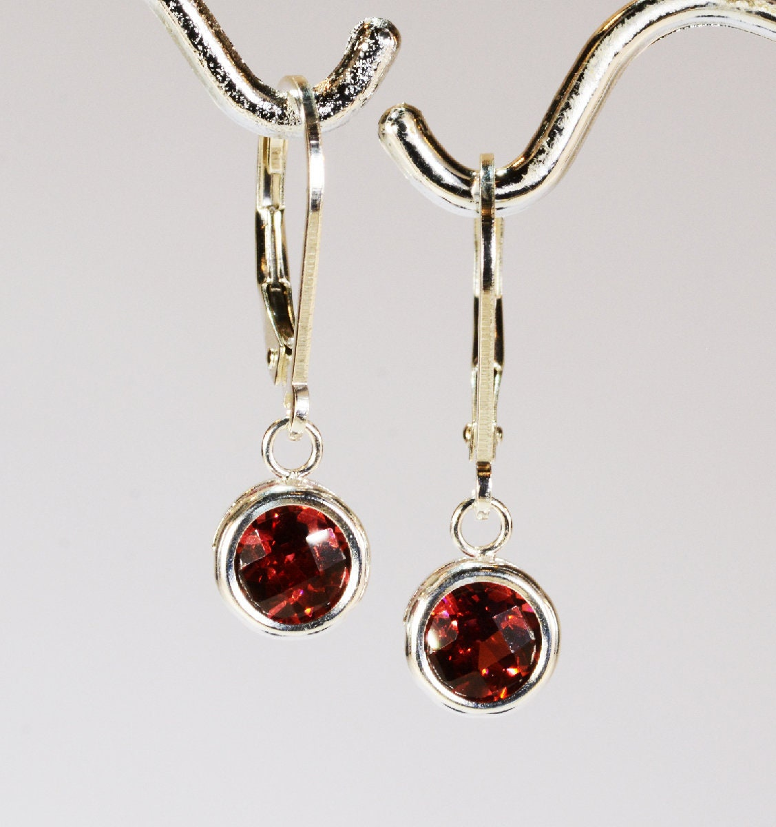 3 Carat Silver Leverback Earrings Natural Garnet