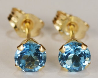Swiss Blue Topaz Earrings~14KT Yellow Gold Setting~4mm Round~Genuine Natural Mined
