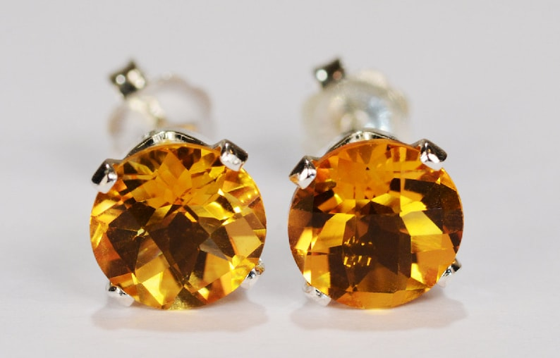 a35cd7012f3ce Citrine Earrings~.925 Sterling Silver Setting~7mm Round Cut~Genuine Natural  Mined