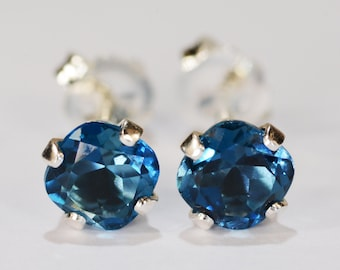 London Blue Topaz Earrings~.925 Sterling Silver Setting~5mm Cushion Cut~Genuine Natural Mined Gemstones