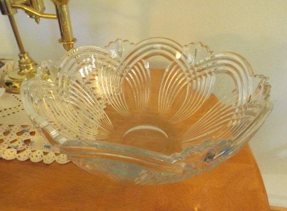 Vintage Crystal Bowl Large Centerpiece Decor Dining Etsy