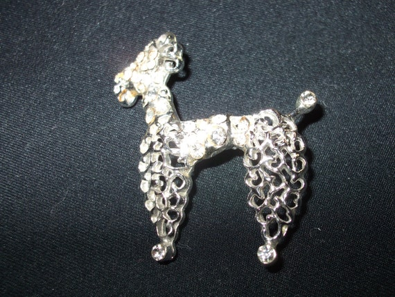 On Sale! 1950's Vintage Poodle Brooch with rhinest