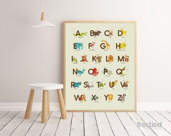 "Animal Alphabet Poster, Animal ABCs, ABC Poster: 16x20"" Print"